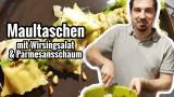 Selbstgemachte Maultaschen mit Wirsingsalat und Parmesanschaum